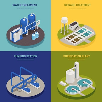 Le icone di concetto di pulizia dell'acqua hanno messo con isometrico di simboli di trattamento delle acque isolato