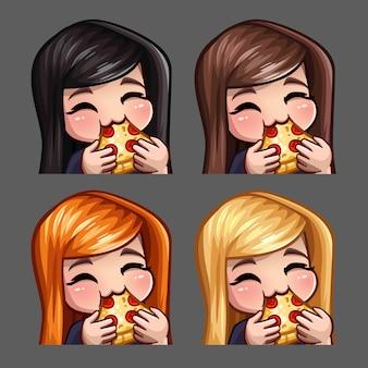 Le icone di emozione donna felice mangiano pizza con i capelli lunghi per social network e adesivi