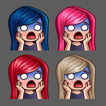 Le icone di emozione hanno spaventato la femmina con i capelli lunghi per i social network e gli adesivi
