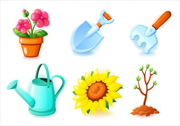 Le icone di giardinaggio hanno messo - il vaso da fiori, la pala, il rastrello, l'annaffiatoio, i girasoli e l'albero della piantina - icone per i giochi del cellulare e di web, illustrazione su fondo bianco.