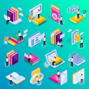 Le icone di incandescenza isometrica di istruzione online hanno messo con i video corsi delle lezioni di video della biblioteca della nuvola che tengono i simboli personali dell'insegnante