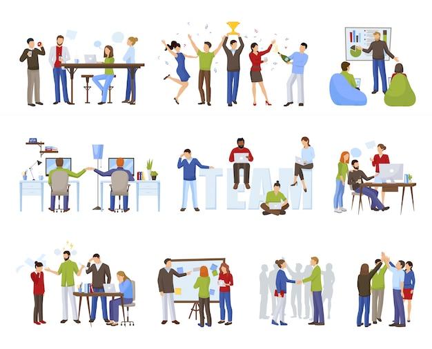 Le icone di lavoro di squadra di affari hanno messo con l'illustrazione di vettore isolata piano di simboli di coworking