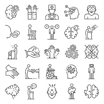 Le icone di malattia di alzheimers hanno fissato, descrivono lo stile