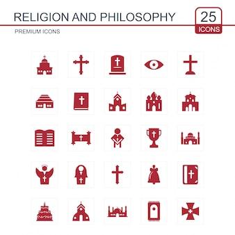 Le icone di religione e filosofia sono rosse
