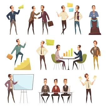 Le icone di riunione d'affari messe con il fumetto di simboli del lavoro e di pianificazione hanno isolato l'illustrazione di vettore