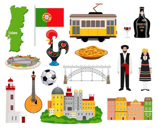 Le icone di turismo del portogallo hanno messo con l'illustrazione di vettore isolata piano di simboli della mappa e di cucina
