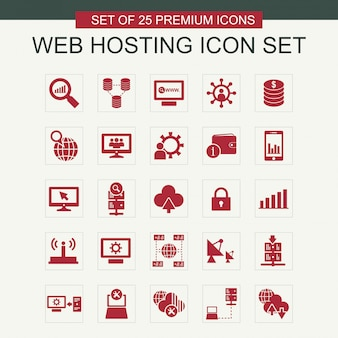 Le icone di web hosting impostano il vettore