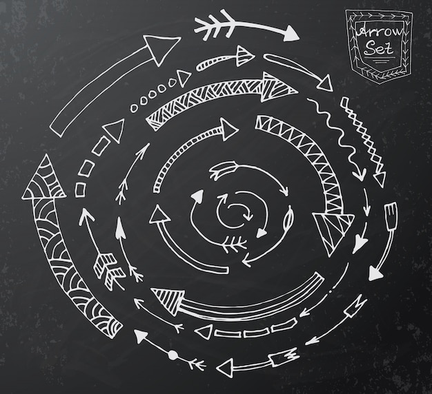 Le icone disegnate a mano della freccia hanno messo sul bordo di gesso nero