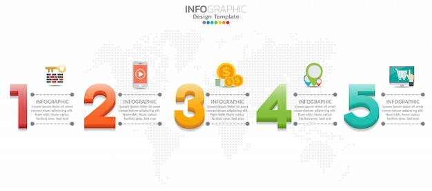 Le icone e le icone di infografica della timeline di 5 passi possono essere utilizzate per il flusso di lavoro.
