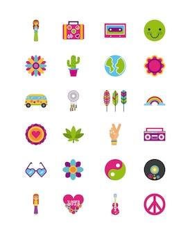 Le icone hanno fissato il fumetto di paesaggio del hippy