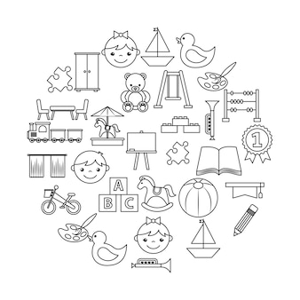 Le icone impostate kinder garten