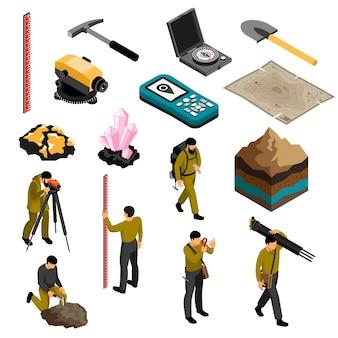 Le icone isometriche degli accessori dell'ingranaggio dei rifornimenti degli strumenti del geologo hanno messo con l'illustrazione di vettore del martello della bussola della mappa del corredo della durezza dei minerali