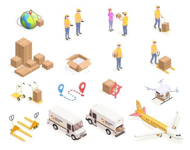 Le icone isometriche della spedizione della logistica di consegna hanno messo con le immagini isolate delle scatole di cartone e la gente nell'illustrazione uniforme