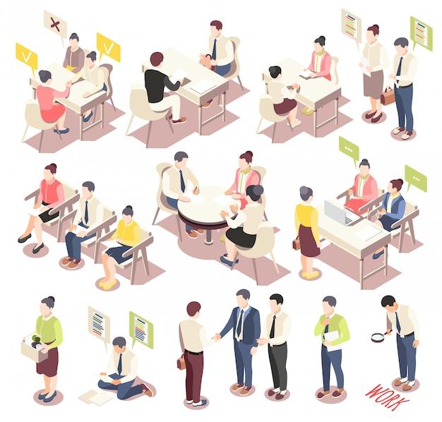 Le icone isometriche di assunzione e di occupazione messe con la gente che offre le loro abilità che considerano i posti vacanti che aspettano l'intervista di lavoro hanno isolato l'illustrazione di vettore