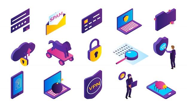 Le icone isometriche di attività di pirateria informatica hanno messo con il pirata informatico che ruba le informazioni isolate