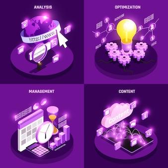 Le icone isometriche di concetto di traffico web messe con l'ottimizzazione e la gestione hanno isolato l'illustrazione