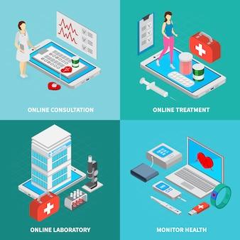 Le icone isometriche di concetto mobile della medicina messe con i simboli online di trattamento hanno isolato l'illustrazione