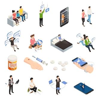 Le icone isometriche di dipendenza dell'aggeggio dello smartphone di internet hanno messo con gli apparecchi elettronici dei caratteri umani e l'illustrazione figurativa di vettore dei pittogrammi di dipendenza