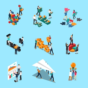 Le icone isometriche di lavoro di squadra messe con le idee di collaborazione e i simboli di creatività hanno isolato l'illustrazione