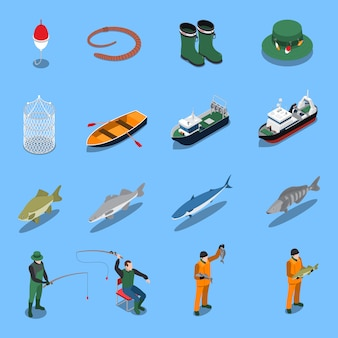 Le icone isometriche di pesca messe con le barche e le attrezzature hanno isolato l'illustrazione
