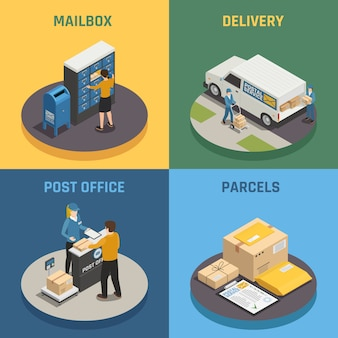 Le icone isometriche di servizio 4 di consegna della posta dell'ufficio quadrano con il fondo variopinto dei pacchetti della cassetta delle lettere isolato