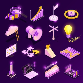 Le icone isometriche di strategia aziendale messe con i simboli di successo hanno isolato l'illustrazione