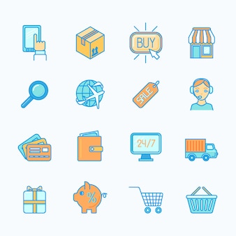 Le icone linea piana al minuto di commercio elettronico di acquisto di internet online messe hanno isolato l'illustrazione di vettore