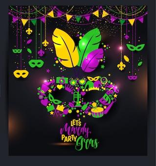Le icone luminose di carnevale di vettore mascherano e firmano tempo al carnevale