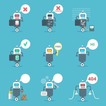Le icone moderne dei robot hanno messo il concetto di tecnologia di intelligenza artificiale del bot di chiacchierata