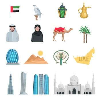 Le icone piane degli emirati arabi uniti con i simboli dello stato e degli oggetti culturali hanno isolato l'illustrazione di vettore