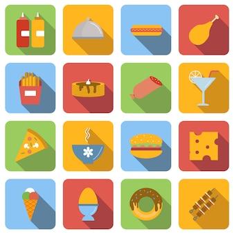 Le icone piane dell'alimento hanno fissato le immagini con ombra lunga nel quadrato