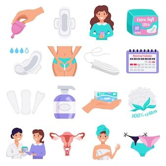 Le icone piane dell'igiene femminile hanno messo con le fodere di panty dei cuscinetti di panno naturali delle tazze mestruali dei tamponi isolate
