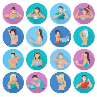 Le icone piane dell'igiene messe con la sanità personale ed i simboli di bellezza hanno isolato l'illustrazione di vettore