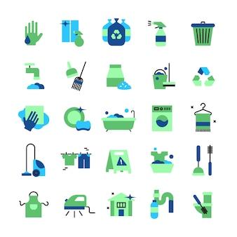Le icone piane di colore di pulizia hanno messo degli oggetti della famiglia con l'illustrazione di vettore isolata spazzola di scopa e di scopa di gomma dei guanti di gomma del secchio del ferro dell'aspirapolvere