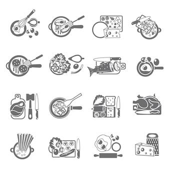Le icone piane di concetto di cottura domestica sana hanno messo con le verdure carne e piatti di pesce