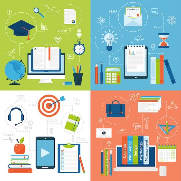 Le icone piane di istruzione online vector l'insieme dei simboli di scuola e di webinar di distanza.