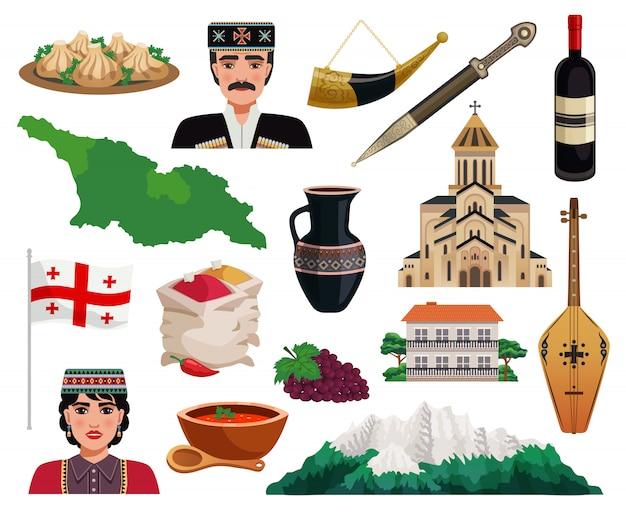 Le icone piane di turismo della georgia hanno messo con i piatti nazionali della cucina dei punti di riferimento dei monumenti della bandiera della mappa del paese isolati