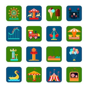 Le icone quadrate del parco di divertimenti hanno messo con l'illustrazione di vettore isolata piano di simboli di fine settimana