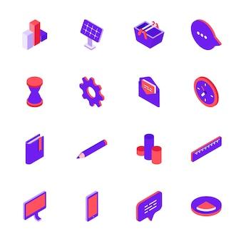 Le icone sociali di media hanno fissato l'illustrazione di vettore di stile 3d.