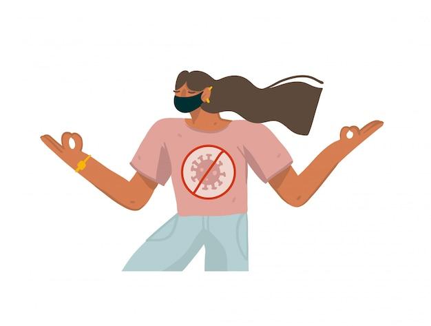 Le illustrazioni disegnate a mano con il carattere della ragazza di yoga mantengono la calma e hanno la quarantena isolata su fondo bianco
