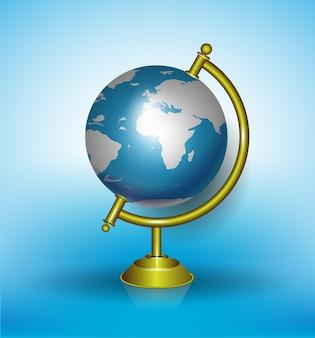 Le illustrazioni educative del cielo blu del globo di nuovo al mondo della scuola esplorano