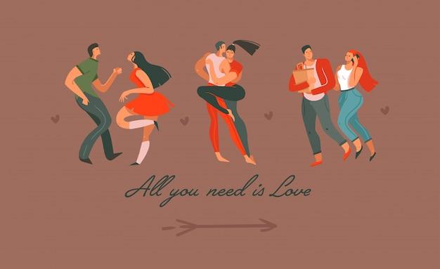 Le illustrazioni felici moderne di concetto di san valentino del fumetto astratto disegnato a mano con la gente delle coppie di dancing hanno isolato insieme su fondo colorato