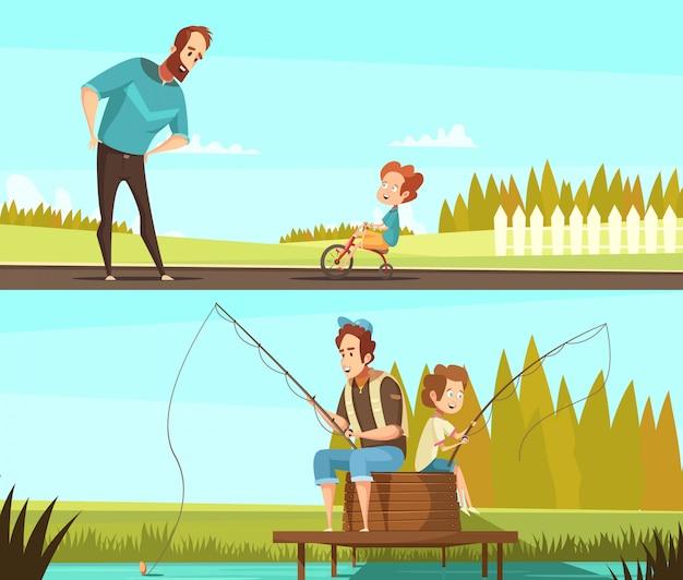 Le insegne all'aperto di attività del retro fumetto di paternità 2 con pesca insieme e il ragazzino che ciclano hanno isolato l'illustrazione di vettore
