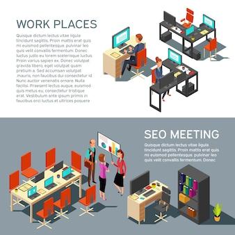 Le insegne di affari vector la progettazione con l'interno moderno del posto di lavoro isometrico e la gente dell'ufficio 3d