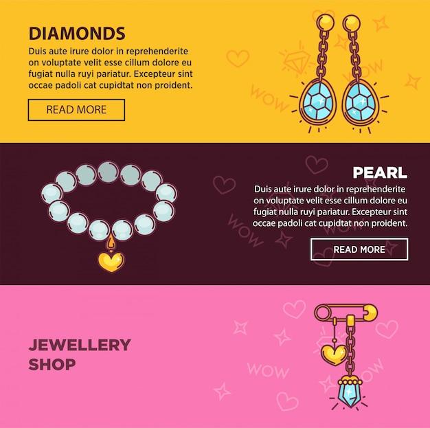 Le insegne di web del negozio online dei gioielli vector la progettazione piana del modello