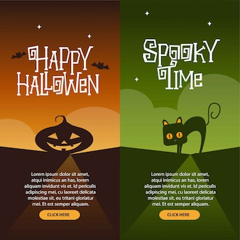 Le insegne felici di halloween hanno messo l'illustrazione di vettore di progettazione