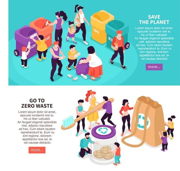 Le insegne isometriche orizzontali di zero rifiuti messe con la gente che salva il pianeta e che ordinano l'illustrazione isolata 3d dei rifiuti
