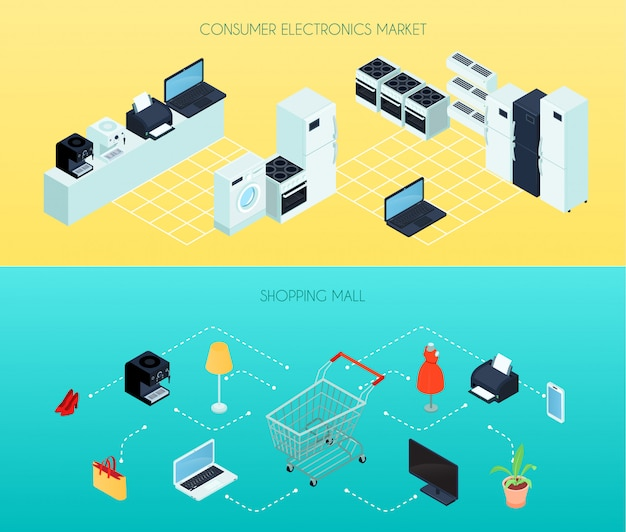 Le insegne orizzontali del centro commerciale due con le icone isometriche delle merci domestiche e delle merci domestiche vector l'illustrazione