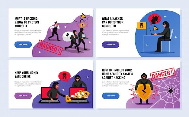 Le insegne orizzontali del pirata informatico hanno messo con l'illustrazione isolata piano di simboli del sistema di sicurezza