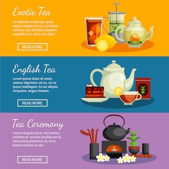 Le insegne orizzontali del tè hanno messo con l'illustrazione di vettore isolata piano inglese e esotico dei simboli del tè